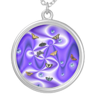 Butterflies with beads on purple silk round pendant necklace