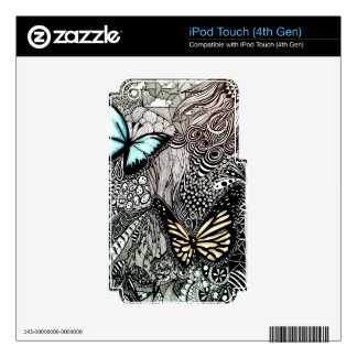 Butterflies with Black and White Design Decal For iPod Touch 4G