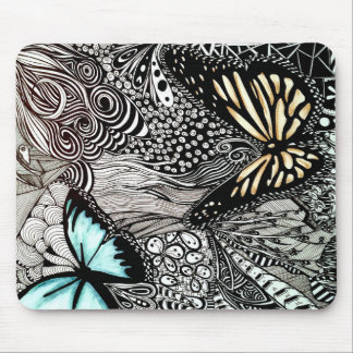 Butterflies with Black and White Design Mouse Pad