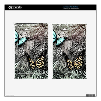 Butterflies with Black and White Design Skin For Kindle Fire