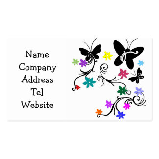 Butterflies with flowers in color business cards