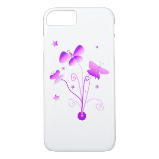 Butterflies with Flowers in Pink and Purle iPhone 8/7 Case
