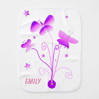 Butterflies with Flowers Personalize Burp Cloth