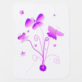 Butterflies with Flowers Stroller Blanket