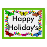 Butterflies with lights christmas blank card