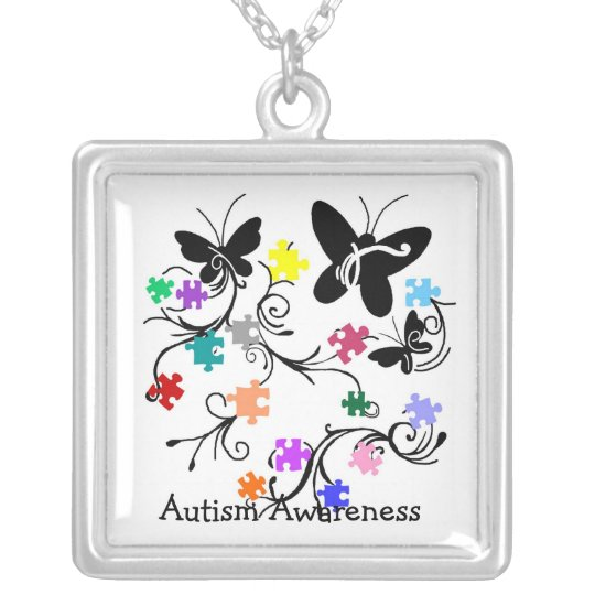 Butterflies with puzzle pieces Necklace