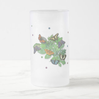 Butterflies with sheets, rain drop, beads frosted glass beer mug