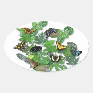 Butterflies with sheets, rain drop, beads oval sticker