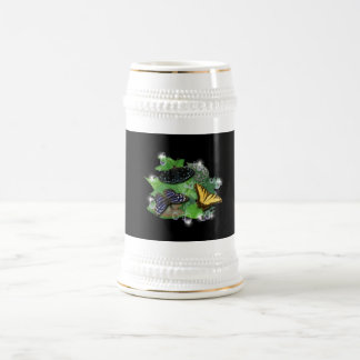 Butterflies with sheets, rain drop, stars beer stein