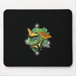 Butterflies with sheets, rain drop, stars mouse pad