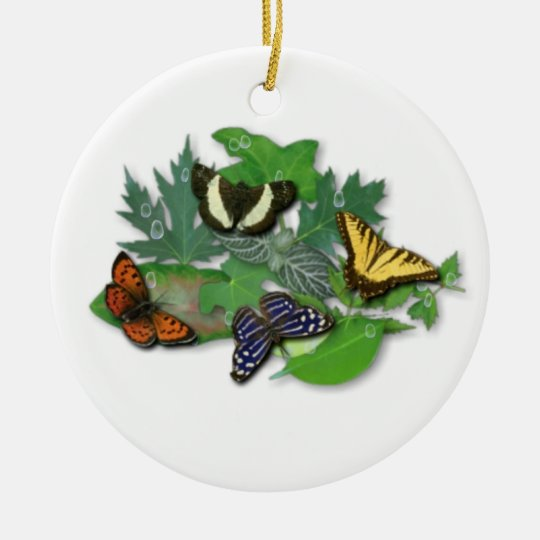 Butterflies with sheets, rain drops ceramic ornament