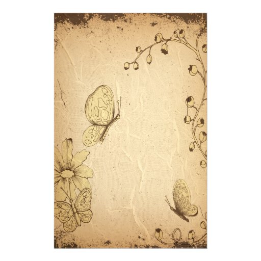Butterflies Wrinkled Antique Stationery
