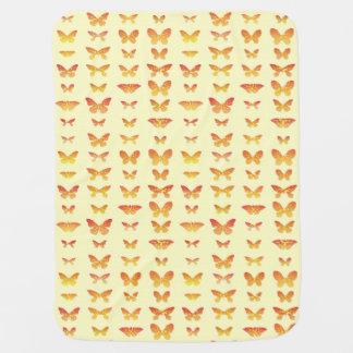 Butterflies, yellow, gold and orange receiving blanket