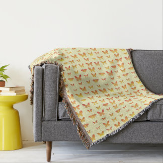 Butterflies, yellow, gold and orange throw