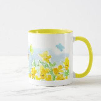 Butterflies Yellow Pansy Flowers Watercolor Art Mug