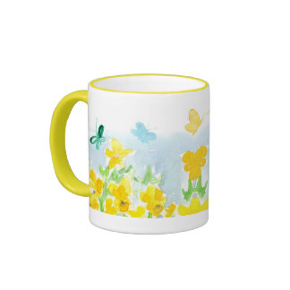 Butterflies Yellow Pansy Flowers Watercolor Art Ringer Mug