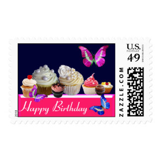 BUTTERFLIES ,YUMMY BIRTHDAY CUPCAKES AND DESERTS POSTAGE