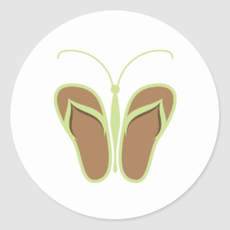 Butterflops Green 1 Classic Round Sticker