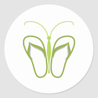 Butterflops Green 3 Classic Round Sticker