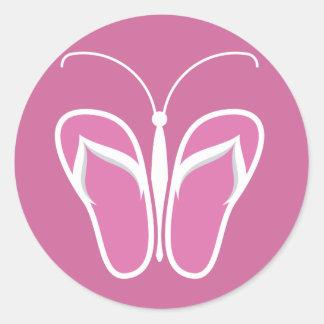 Butterflops Pink 2 Classic Round Sticker