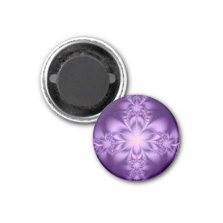 Butterflower púrpura imán redondo 3 cm