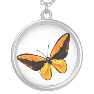butterfly2 round pendant necklace