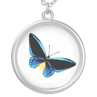 butterfly4 round pendant necklace