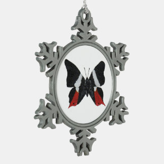 Butterfly9 Snowflake Pewter Christmas Ornament