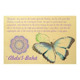 Butterfly9 with Baha'i quote/Baha'i mandala Wood Wall Art