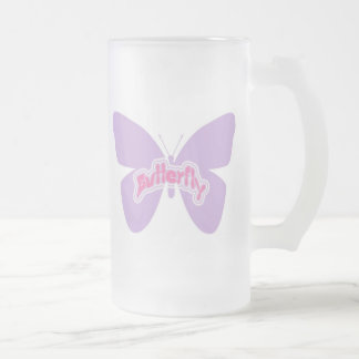 Butterfly 16 Oz Frosted Glass Beer Mug