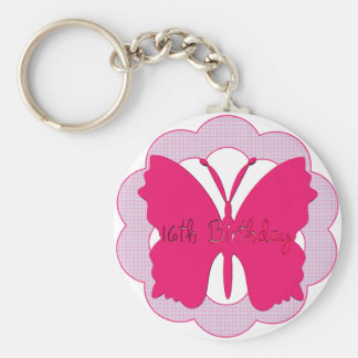 Butterfly 16th Birthday Gifts Keychain