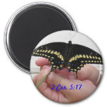 Butterfly, 2 Cor. 5:17 2 Inch Round Magnet