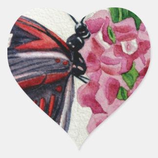 Butterfly 2, Flower, Garden, Watercolor Painting Heart Sticker
