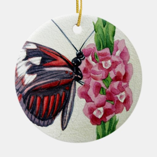 Butterfly 2, Flower, Garden, Watercolor Painting Christmas Ornament