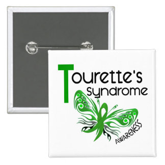 Butterfly 3.1 Tourette's Syndrome 2 Inch Square Button