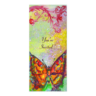 BUTTERFLY 3 ,bright red yellow purple pink sparkle Card