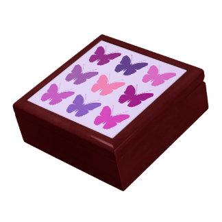 Butterfly 3x3 Pattern Pinks Purple Mauve Lilac Jewelry Box