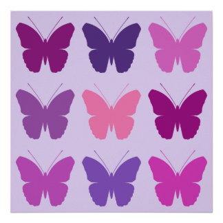 Butterfly 3x3 Pattern Pinks Purple Mauve Lilac Poster
