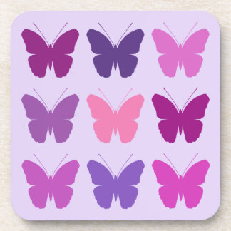 Butterfly 3x3 Pattern Pinks Purples Mauves Coaster