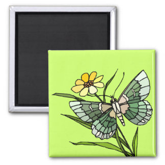 Butterfly 4 2 inch square magnet