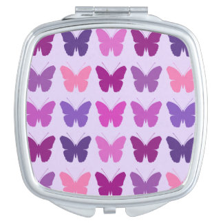 Butterfly 5x5 Pattern Pinks Purples Mauves Lilac Makeup Mirror