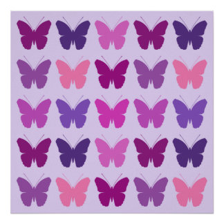 Butterfly 5x5 Pattern Pinks Purples Mauves Lilac Poster