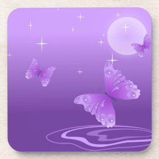 butterfly-69998 cartoon butterfly purple white vec beverage coaster