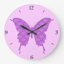 Butterfly, abstract pattern, lavender and purple large clock
