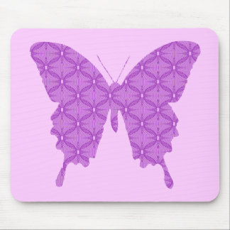 Butterfly, abstract pattern, lavender and purple mouse pad