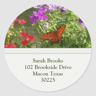 Butterfly Address Label Round Stickers