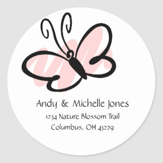 Butterfly Address Labels Classic Round Sticker