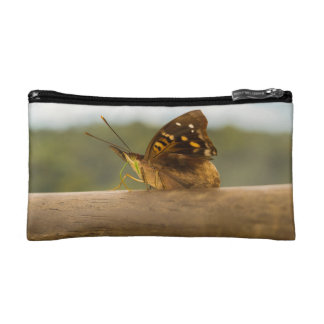 Butterfly against Blur Background at Iguazu Park Cosmetic Bag