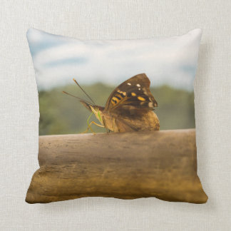 Butterfly against Blur Background at Iguazu Park Throw Pillow