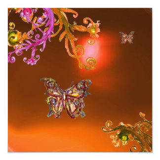 BUTTERFLY AGATE ,bright  orange pink yellow  brown Card